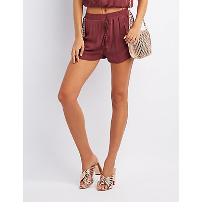 Embroidered Tassel-Tie Dolphin Shorts