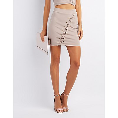 Lace-Up Bodycon Skirt