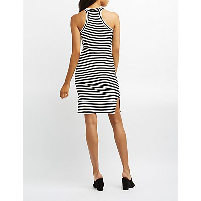 Ribbed Knit Striped Midi Dress