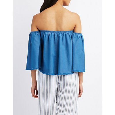 Chambray Frayed Off-The-Shoulder Top