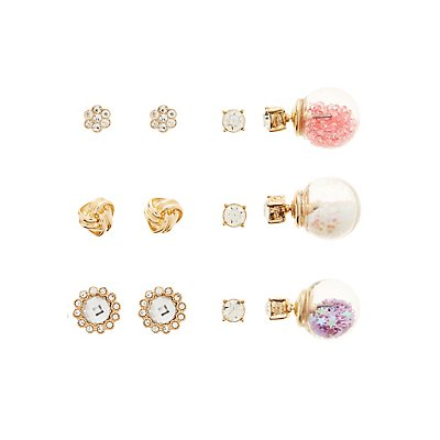 Embellished Studs and Front-Back Earrings – 6 Pack