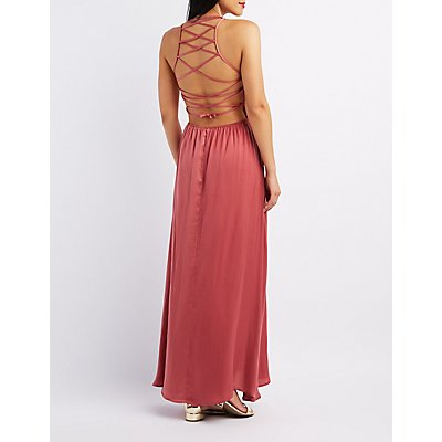 Lace-Up Back Bib Neck Maxi Dress