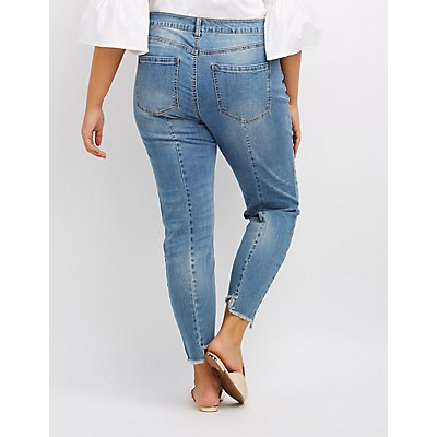 Plus Size Refuge Frayed Hem Skinny Jeans