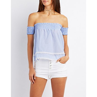 Pinstripe Off-The-Shoulder Smocked Top