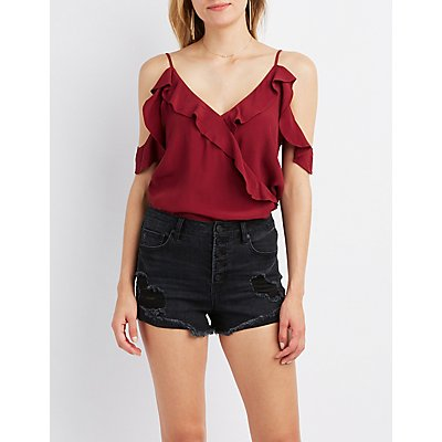 Ruffle Cold Shoulder Surplice Top