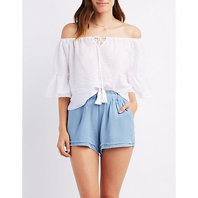 Crochet-Trim Embroidered Off-The-Shoulder Blouse