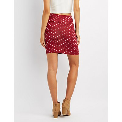 Polka Dot Bodycon Mini Skirt