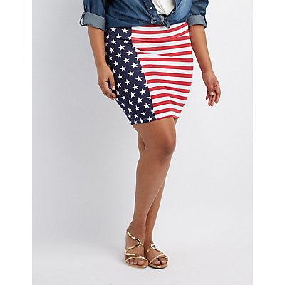 Plus Size Americana Bodycon Mini Skirt