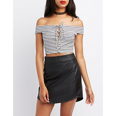 Striped Lace-Up Off-The-Shoulder Crop Top