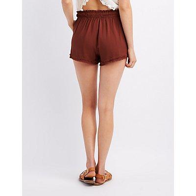 Raw Hem Drawsting Shorts