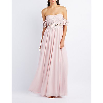 Lace & Chiffon Off-The-Shoulder Maxi Dress