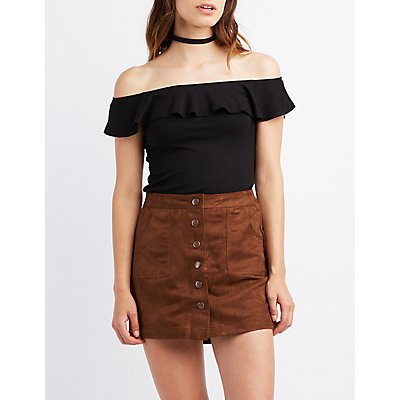 Ribbed Ruffle Off-The-Shoulder Top