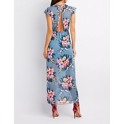 Floral Lace-Up Open Back Maxi Dress