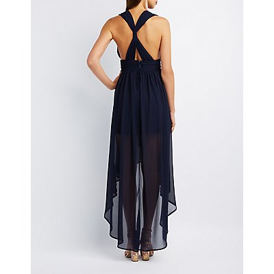 Twist Back High-Low Maxi Dress