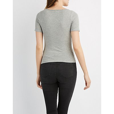 Ribbed Lace-Up Skimmer Top