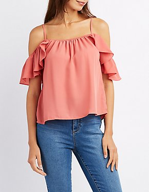 Cold Shoulder Ruffle Sleeve Top