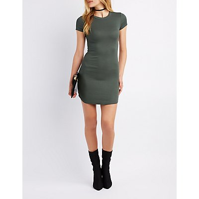 Ribbed Crew Neck Bodycon Dress