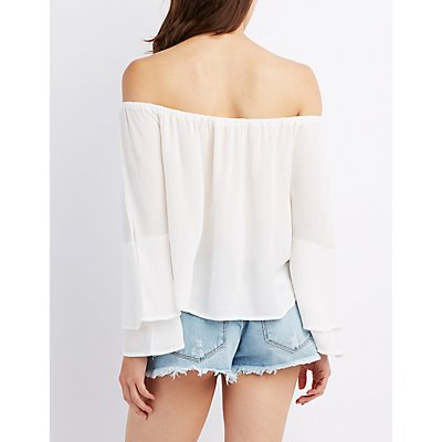Ruffle Sleeve Tied Off-The-Shoulder Top