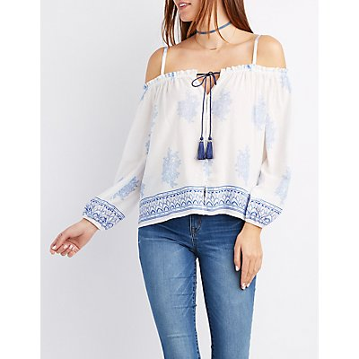 Printed Button-Up Cold Shoulder Blouse
