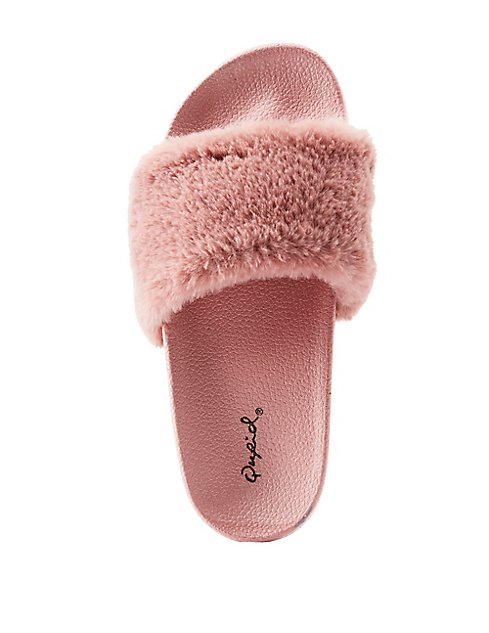 qupid faux fur slide sandals charlotte russe