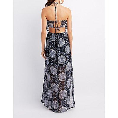 Paisley Open-Back Halter Maxi Dress