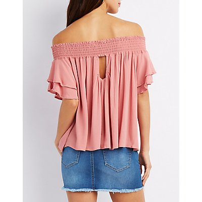 Smoked Ruffle-Trim Off-The-Shoulder Top
