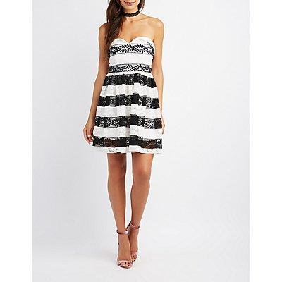 Striped Lace Strapless Skater Dress