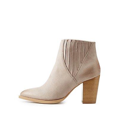 Qupid Gored Block Heel Booties