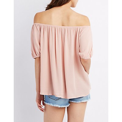 Off-The-Shoulder Button Peasant Top