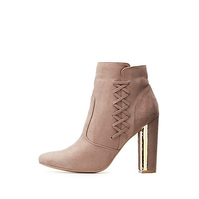 Qupid Gold-Trim Lace-Up Booties