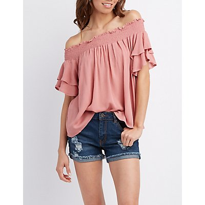 Smocked Off-The-Shoulder Top