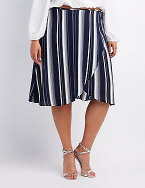 Plus Size Striped Wrap Skirt