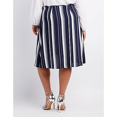 Plus Size Striped Wrap Skirt