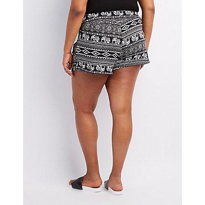 Plus Size Printed High-Waist Shorts