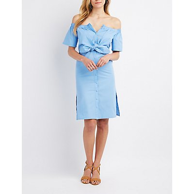 Tie-Front Off-The-Shoulder Button-Up Dress