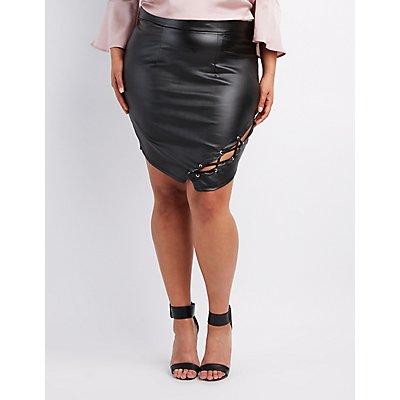 Plus Size Liquid Lace-Up Skirt