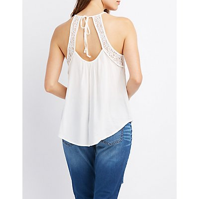 Lace-Trim Open Back Tank Top