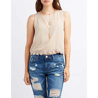 Crochet-Trim Flyaway Top