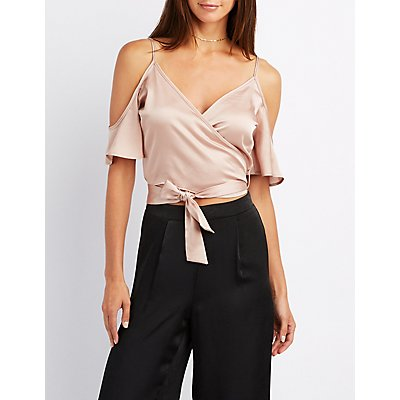 Cold Shoulder Wrap-Tie Crop Top