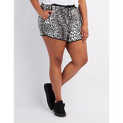 Plus Size Printed Drawstring Shorts