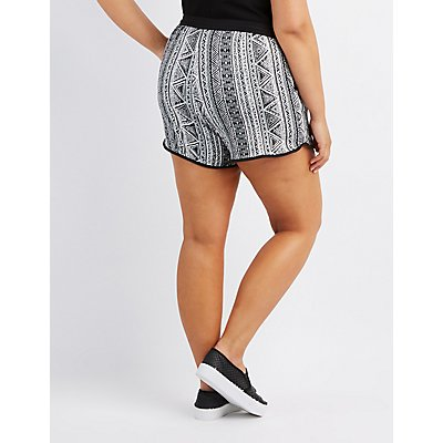 Plus Size Printed Drawstring Shorts