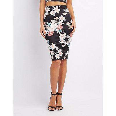 Floral Bodycon Midi Skirt