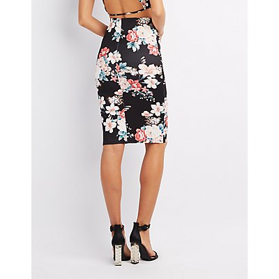 Floral Bodycon Midi Skirt
