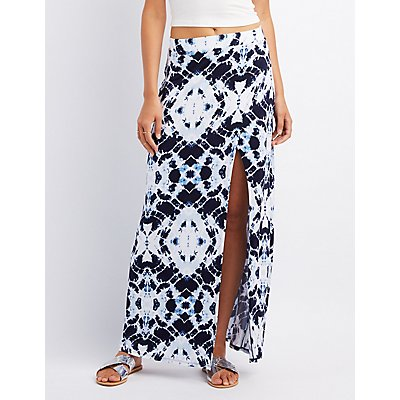 Tie Dye Wrap Slit Skirt
