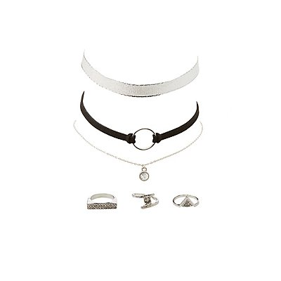 Embellished Rings & Choker Necklaces - 6 Pack