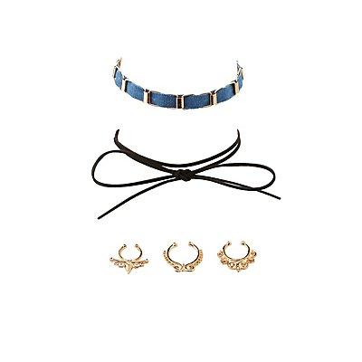 Embellished Septum Rings & Choker Necklaces Set