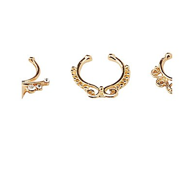 Embellished Septum Rings & Choker Necklaces Set