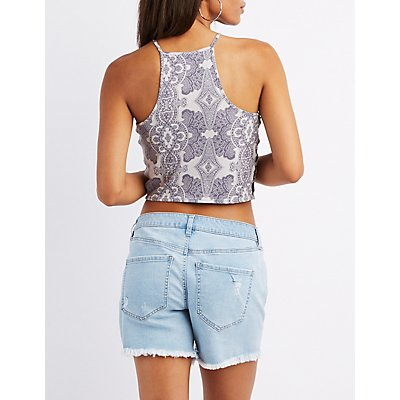 Paisley Bib-Neck Caged Crop Top