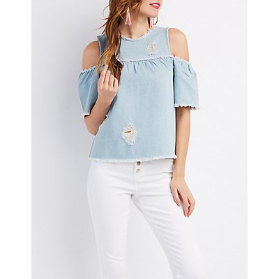Distressed Denim Cold Shoulder Top