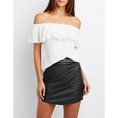 Pleated Foldover Off-The-Shoulder Top